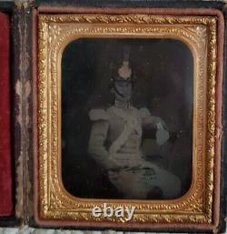 1/6 Ambrotype Civil War Soldier New York Antique Photo Old Picture Full Case