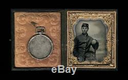 1/6 Photo Civil War Soldier ID'd Marksmanship Medal Poss KIA 131 NY Infantry