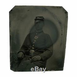 1/6 Plate Civil War Tintype of New York Soldier SNY Belt Plate