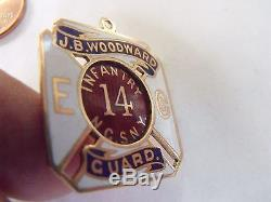 14 Infantry National Guard State New York Solid Gold Fob Medal CIVIL War Span Am