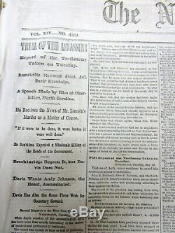 15 1865 NY Times Civil War newspapers w LINCOLN ASSASSINATION CONSPIRATORS TRIAL
