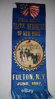 184th REGIMENT NEW YORK NY CIVIL WAR BUTTON RIBBON 1897 WHITEHEAD HOAG ER