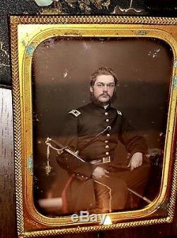 1850s / Early Civil War ID'd & Armed Soldier Tinted Daguerreotype Anson New York
