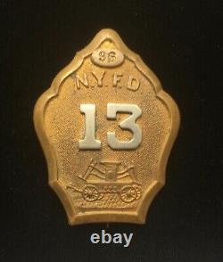 1860-1865 Civil War Era NYFD New York City Fire Dept Engine Company 13 Badge NYC