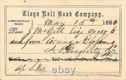 1860 CIVIL War Date Tioga Corning Blossburg New York Railroad Railway Pass Rare