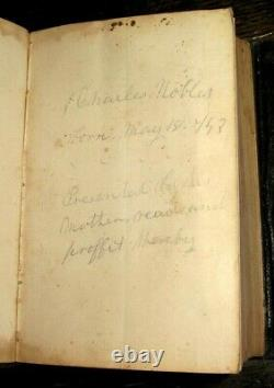 1860 HOLY BIBLE Civil War AMERICAN Leather ANTIQUE Pocket SOLDIER Noble FAMILY