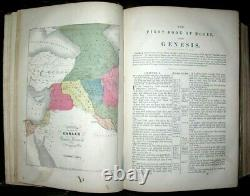 1860 HOLY BIBLE Pronouncing Edition CIVIL WAR Leather ANTIQUE Maps AMERICAN Book