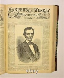 1860 Harpers Weekly Bound Vol IV, 2 LINCOLN Covers, Santa, Civil War, Boxing, VG