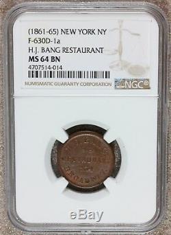 1861-65 New York NY H. J. Bang Civil War Store Token F-630D-1a NGC MS 64 BN