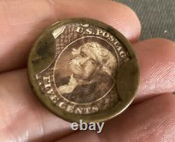 1862 CIVIL WAR ENCASED POSTAGE 5 FIVE CENT STAMP Application For Advertising NY