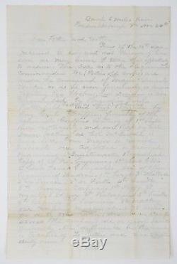 1862 Civil War Letter Burnside Threatens to Shell Fredericksburg 14th New York