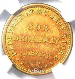 1863 Albany NY Straight's Elephantine Civil War Merchant Token NGC MS64 RB
