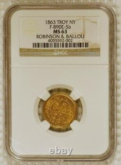 1863 Brass Civil War Merchant Token Robinson & Ballou, Troy New York, NGC MS63