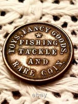 1863 CIVIL WAR TOKEN M. L. MARSHALL OSWEGO NY FISHING TACKLE and RARE COIN CH XF+