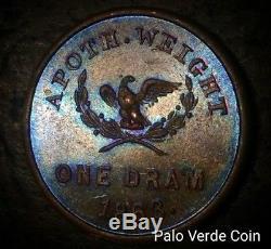 1863 CIVIL War Patriotic Token, Ny630ag/1a (r-1) Rd & Brn, Gruberg, 1 Dram, Unc