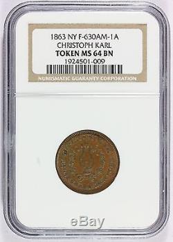 1863 Christoph Karl New York Civil War Store Card Token F-630AM-1A NGC MS 64 BN