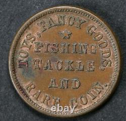 1863 Civil War Token M L Marshall Oswego NY Fishing Tackle & Rare Coin XF+