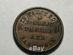 1863 Civil War Token M. L. Marshall Toys Fishing Tackle Rare Coin Oswego NY AU