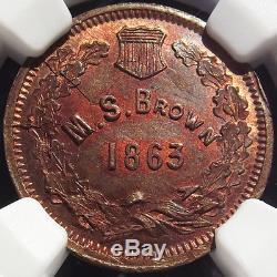 1863 Civil War Token M. S. Brown, Eureka NY, MS65 RB, Die Crack 630N-4a