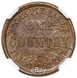1863 Civil War Token, New York, NY Broas Pie Baker, shattered die, NGC MS64BN