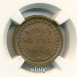 1863 Civil War Token New York NY Monk's Metal Signs F-630BB-7a R4 MS64 BN NGC