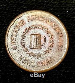 1863 GUSTAVUS LINDENMUELLER BEER, New York CIVIL WAR Token, Choice BU