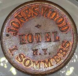 (1863) I Sommers Ny630br/1a (r-2) Jones Wood Hotel New York CIVIL War Token