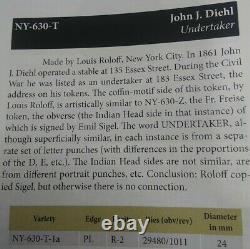 (1863) J J DIEHL NY630T/1a (R-2) UNDERTAKER NEW YORK CIVIL WAR TOKEN