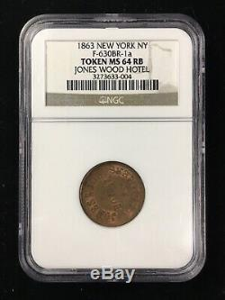 1863 JONES WOOD HOTEL CIVIL WAR TOKEN F-630BR-1a NEW YORK, NY NGC MS64 RB