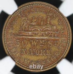 1863 NY Civil War Token F-630AK-2a Hussey's Message Post NGC MS 65 BN Top Pop