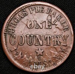 1863 New York Broas Pie Baker / Civil War Token, Cracked Die