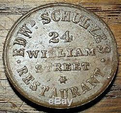 1863 New York City Civil War Token Edwd Schulze's Restaurant Deer Antlers