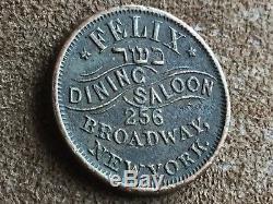1863 New York City Civil War Token Felix Dining Saloon Hebrew Kosher Dinin