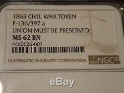 1863 New York Civil War Token Beware Snake F-136/397 a NGC MS 62 BN
