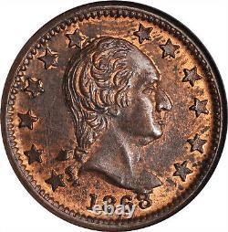 1863 New York George Washington CIVIL War Token Ngc Ms-63 Rb Fuld 1 10/442 A R-1