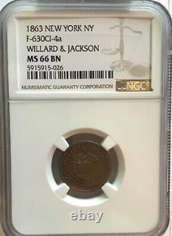 1863 New York, NY Willard & Jackson F-630CI-4a NGC MS 66 BN Civil War Store Card