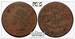1863 Pcgs Au53, CIVIL War New York Felix Dining Saloon Jewish Kosher Token Medal