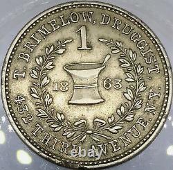 (1863) T BRIMELOW NY630K/3j (R-6) DRUGGIST NEW YORK CIVIL WAR TOKEN