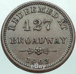 1863 US CIVIL WAR Store Card NY JEWISH Token Penny Coin BENJAMIN & HERRICK