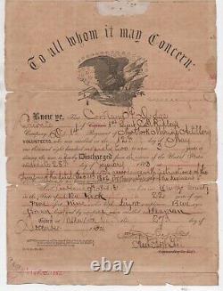 1864 US Civil War Discharge Certificate Cortland Dodge New York Marine Artillery
