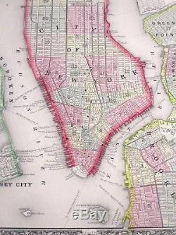 1865 Colored Map New York City, Manhattan Mitchell Atlas, Civil War Year