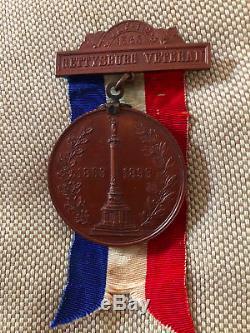 1865 New York Day 1863-1893 GETTYSBURG VETERAN Bronze US CIVIL WAR Medal Pin