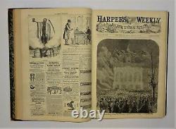 1866 Harpers Weekly Bound Vol X, RARE EARLY BASEBALL, Santa Civil War Lincoln VG