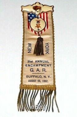 1897 GRAND ARMY REPUBLIC NEW YORK ENCAMPMENT GAR CIVIL WAR BADGE pinback button