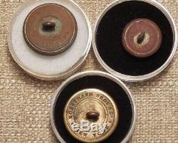 3 rare Civil War backmarked buttons Connecticut, New York & Massachusetts