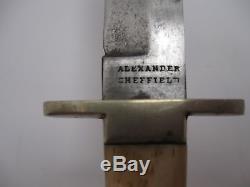 Alexander Sheffield Bowie Knife New York With Sheath VG Circa Civil War