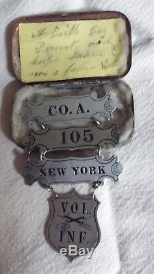 Amazing CIVIL War Co. A 105 New York Vol Inf. Ladder Badge Exc. Cond. And More