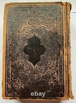 Antique 1860 Lincoln Civil War Era Leather Holy Bible Old & New Testaments