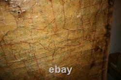 Antique 1860 New York State Canvas School Map Pre Civil War Map