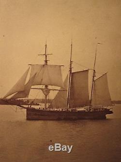 Antique CIVIL War Era Clayton Ny St. Lawrence Atlantic Schooner Ship CDV Photo